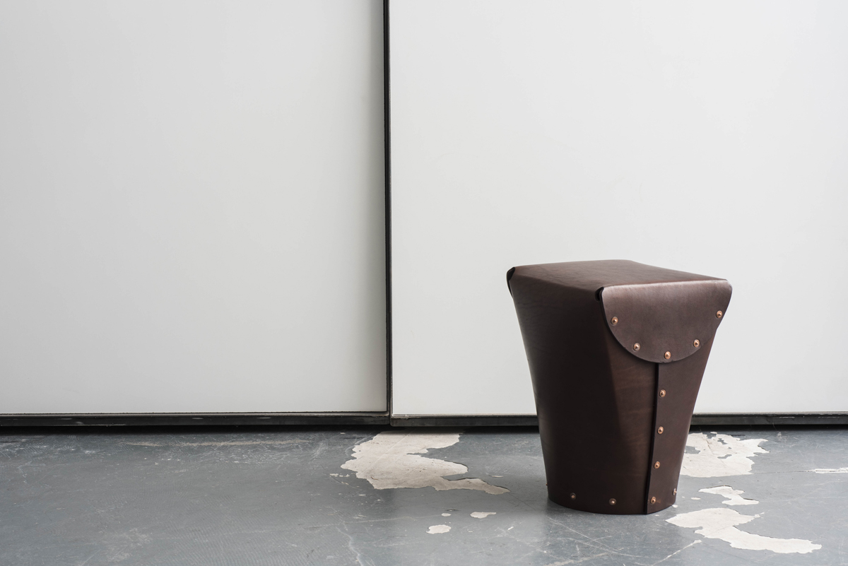 A leather stool.