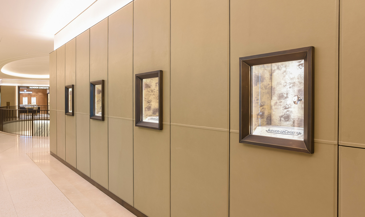 A view of display cases, embossed into the panels.