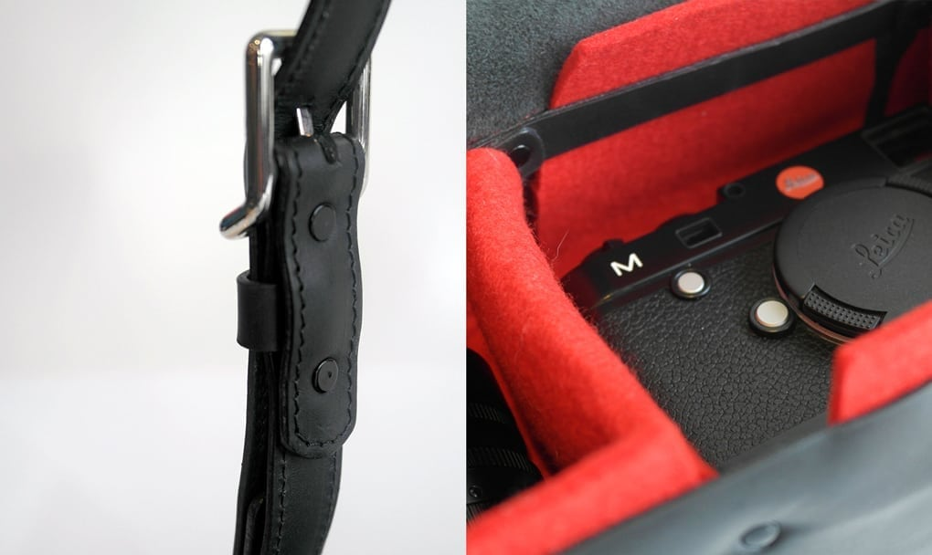 A close up of the strap and the interior.