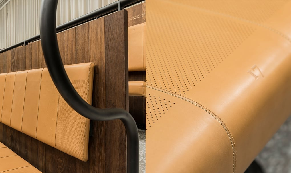 A close-up of the perforated seats, an addition to maximise acoustic quality.