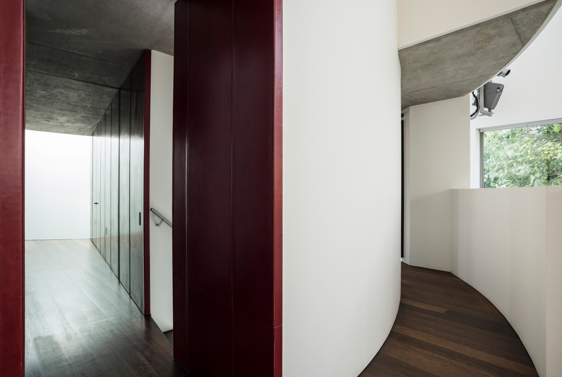 The hallway of the house, showing an alternative view of the vegetable-tanned saddlebacks.