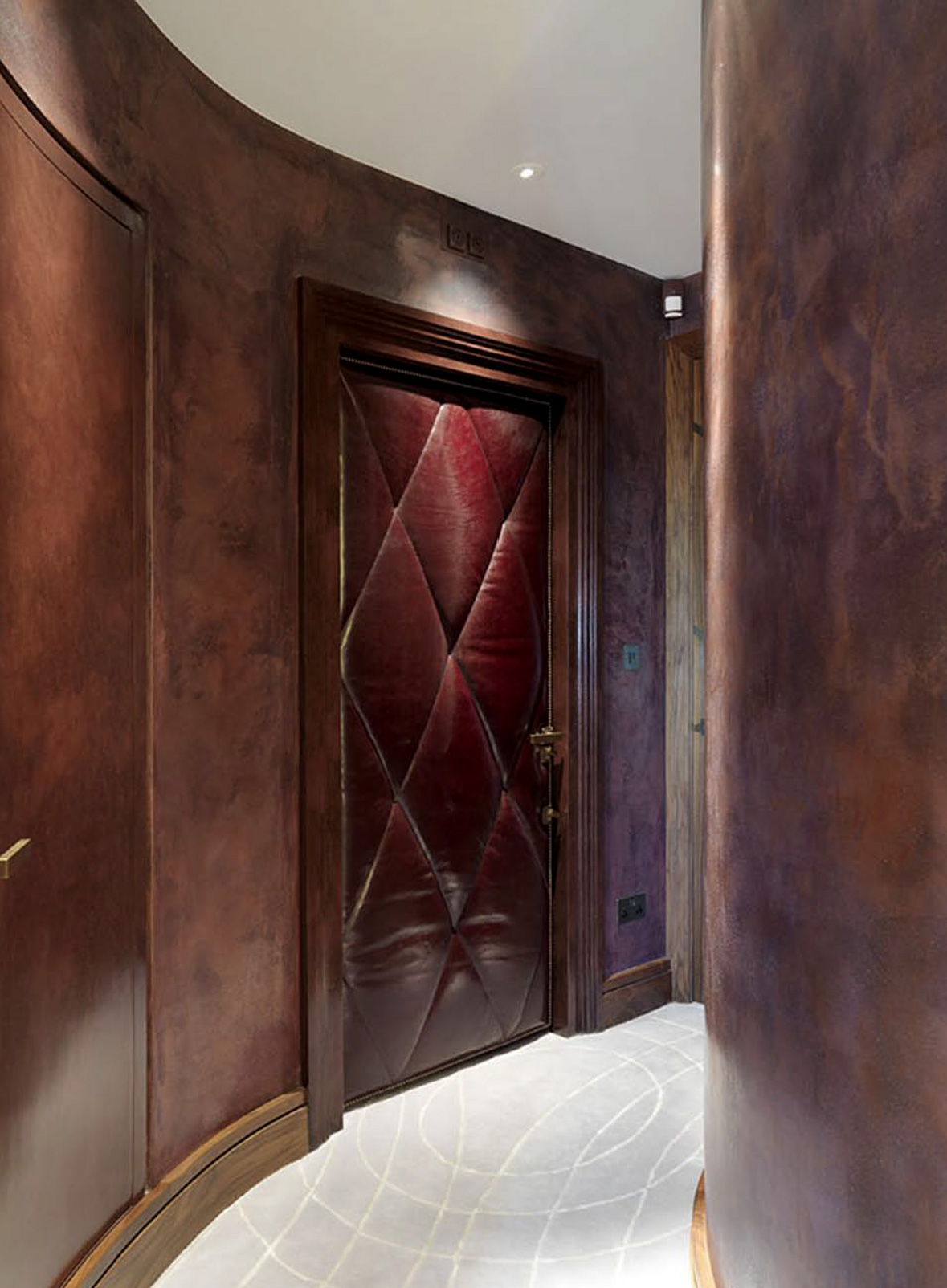 The hallway and a door, clad with leather.