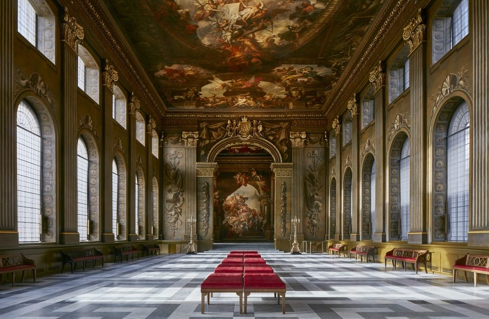 Displaying the beautifully painted interior of The Painted Hall.