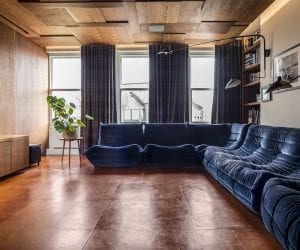 Leather flooring in a private living room with Italian furniture